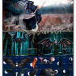 دانلود 30 عکس PNG بال سیاه شیطان Realistic Black Angel Wings Overlays