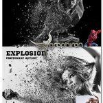 دانلود اکشن فتوشاپ افکت انفجار سوژه در عکس Explosion Photoshop Action