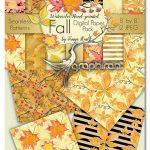 دانلود مجموعه بک گراند پترن برگ های پاییزی Fall Watercolor Digital Paper Pack