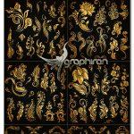 دانلود مجموعه وکتور المان های گل و بوته طلایی Gold Floral Calligraphic Elements