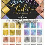 دانلود 24 تکسچر فویل رز طلایی و براق Shimmer Gold-Rose Gold Foil Textures
