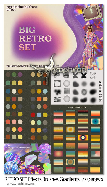دانلود پک براش گرادینت فتوشاپ رنگ های فلت کلاسیک